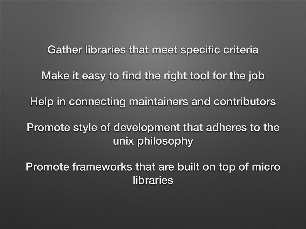Gather libraries that meet specific criteria Mak...