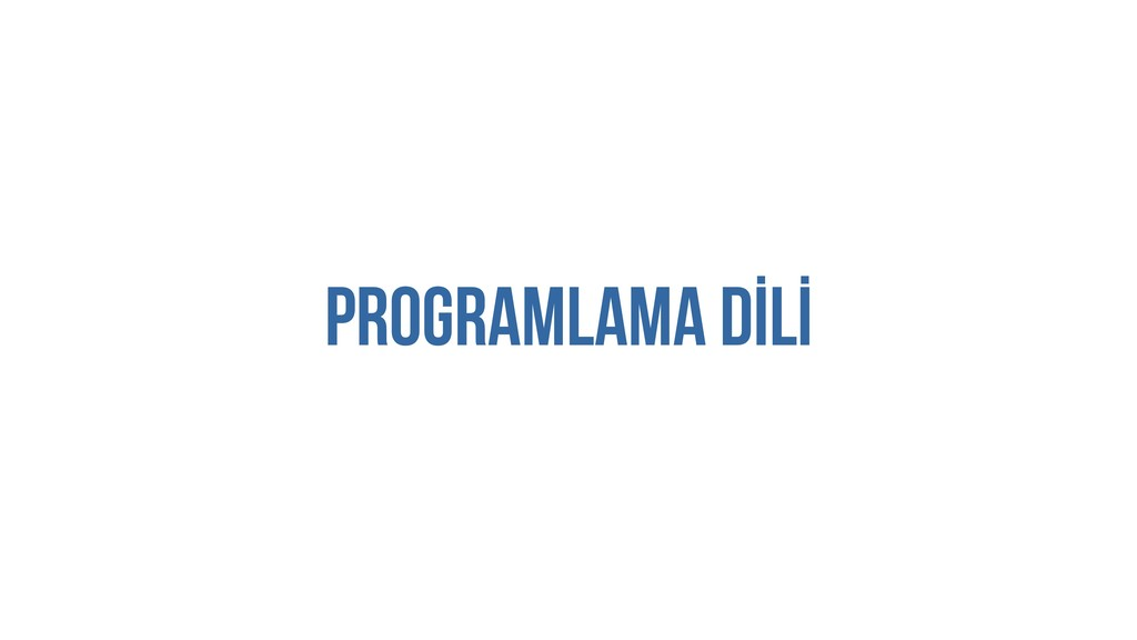 PROGRAMLAMA DİLİ