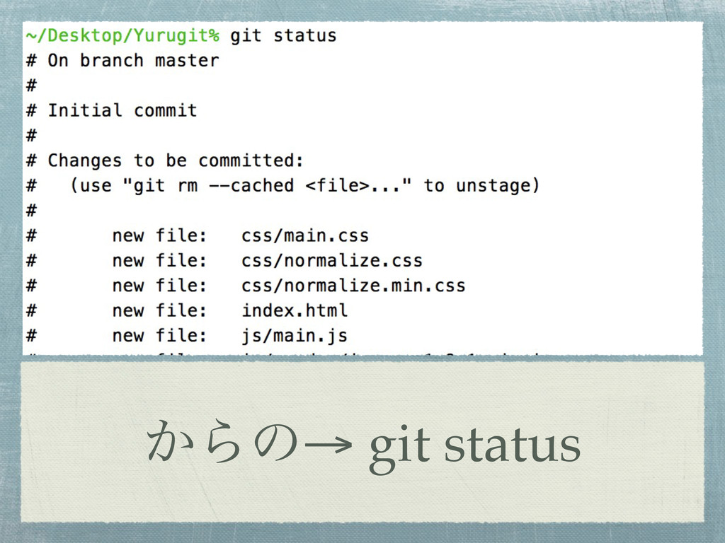 ͔Βͷ→ git status