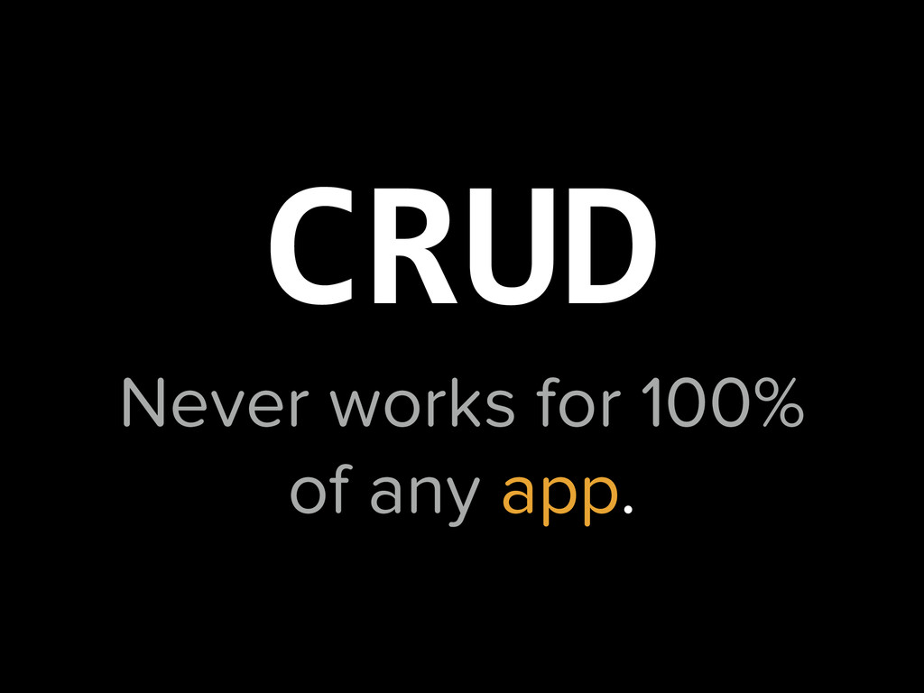 Never works for 100% of any app. CRUD