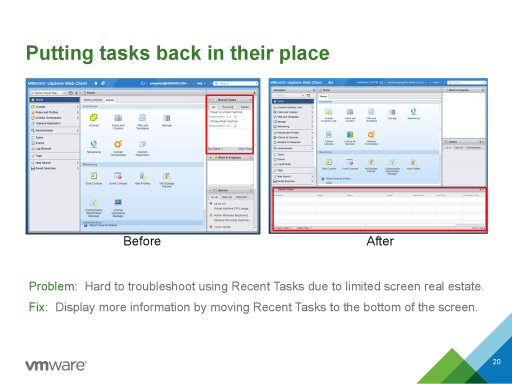 Putting tasks back in their place Problem: Hard...