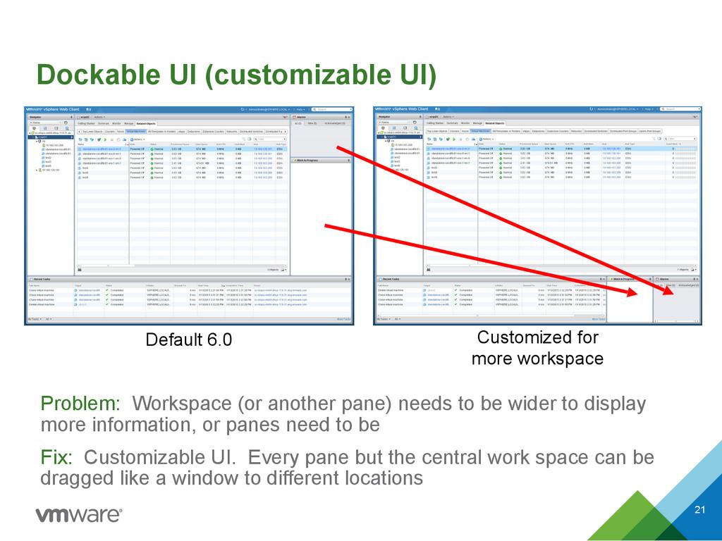 Dockable UI (customizable UI) Problem: Workspac...