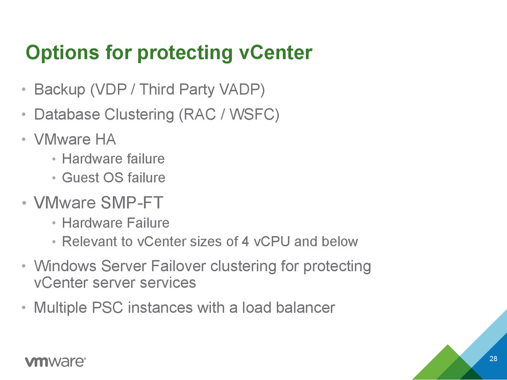 Options for protecting vCenter • Backup (VDP / ...