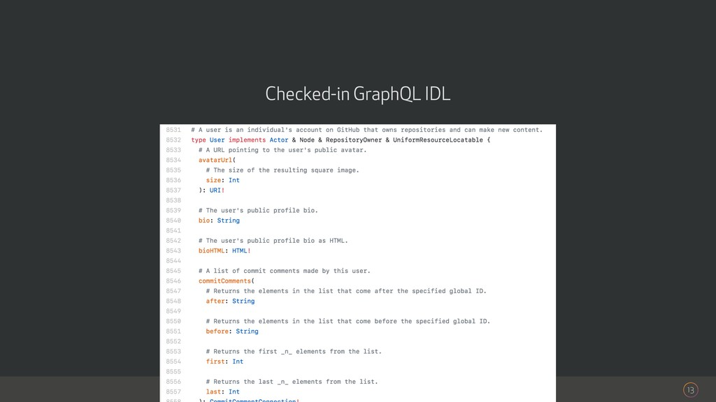 13 Checked-in GraphQL IDL