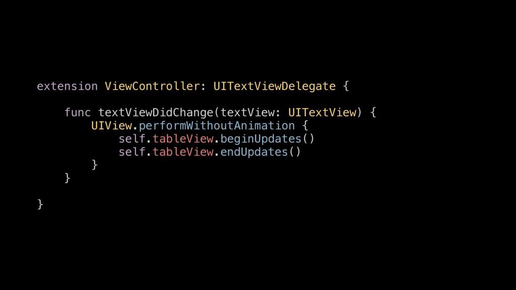extension ViewController: UITextViewDelegate { ...