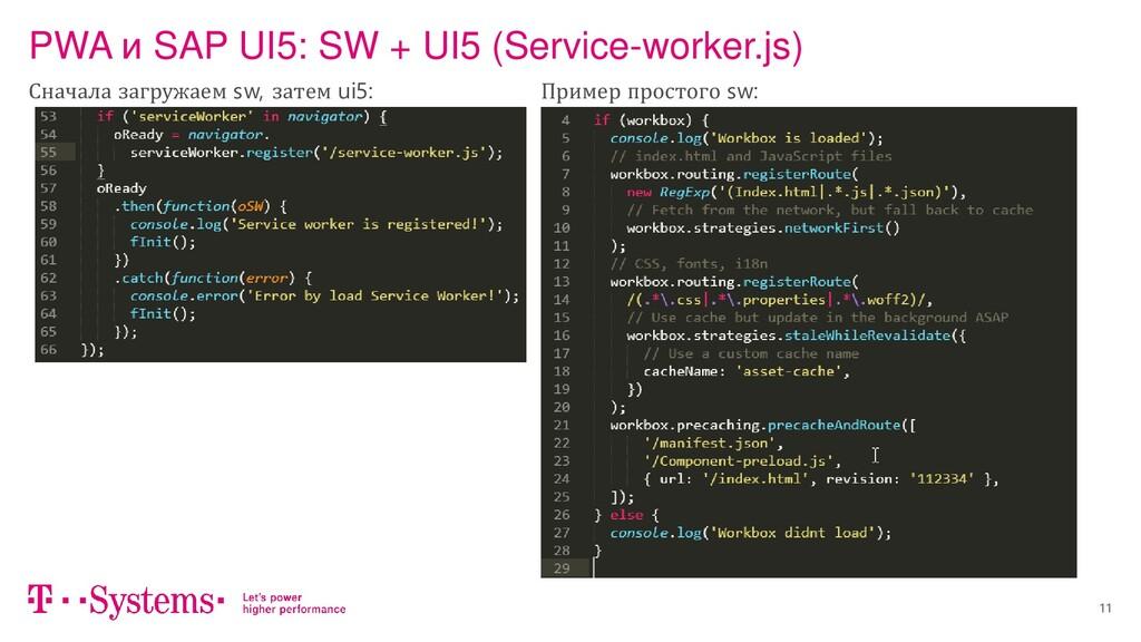 11 PWA и SAP UI5: SW + UI5 (Service-worker.js) ...