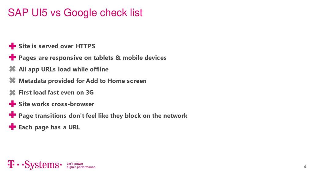 6 SAP UI5 vs Google check list • Site is served...