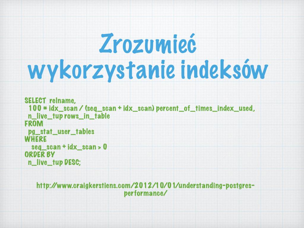 Zrozumieć wykorzystanie indeksów SELECT relname...