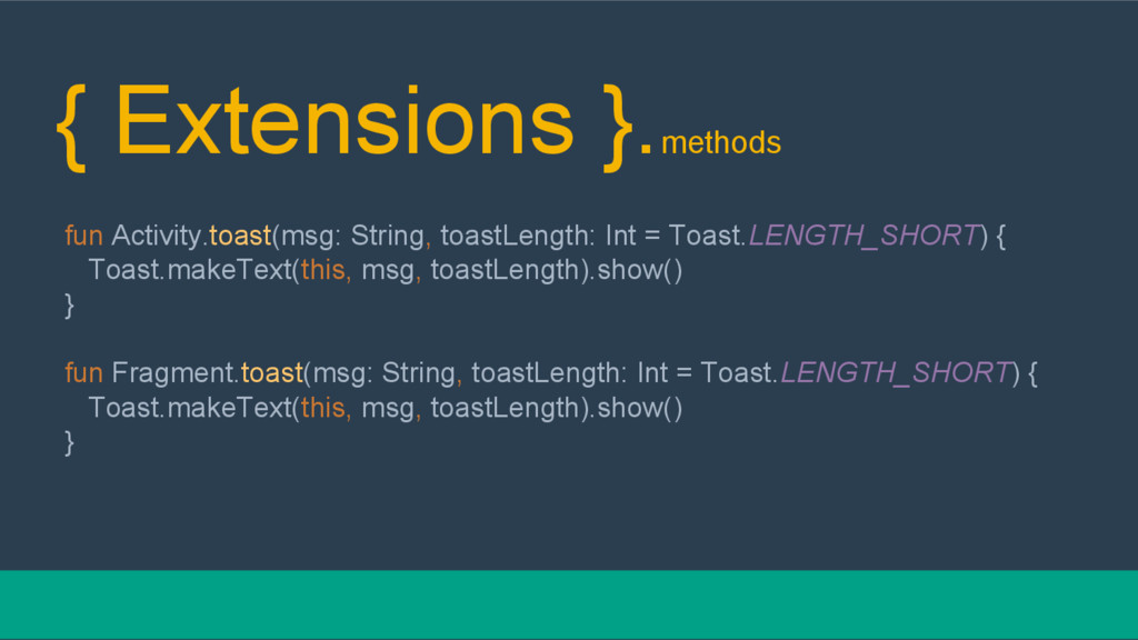 { Extensions }.methods fun Activity.toast(msg: ...