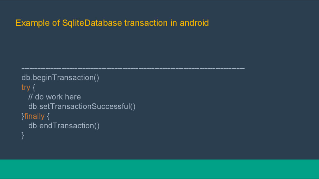 Example of SqliteDatabase transaction in androi...