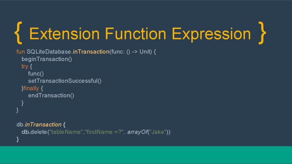 { Extension Function Expression } fun SQLiteDat...