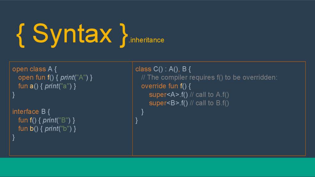 { Syntax } .inheritance open class A { open fun...