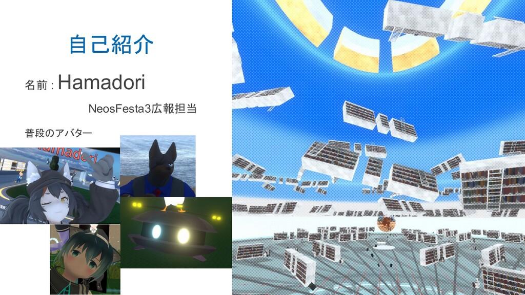 自己紹介 普段のアバター 名前 : Hamadori NeosFesta3広報担当
