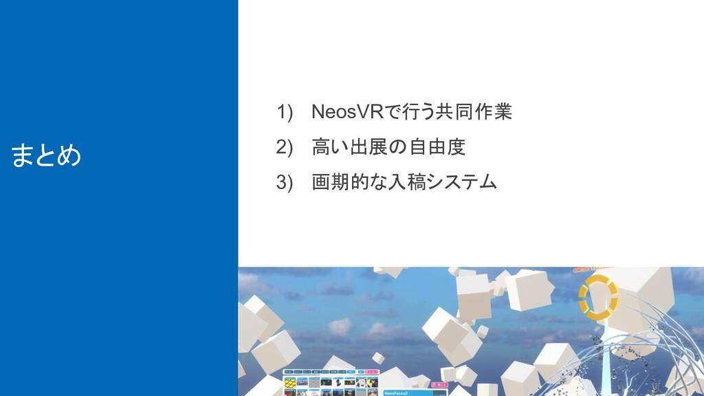 まとめ 1) NeosVRで行う共同作業 2) 高い出展の自由度 3) 画期的な入稿システム