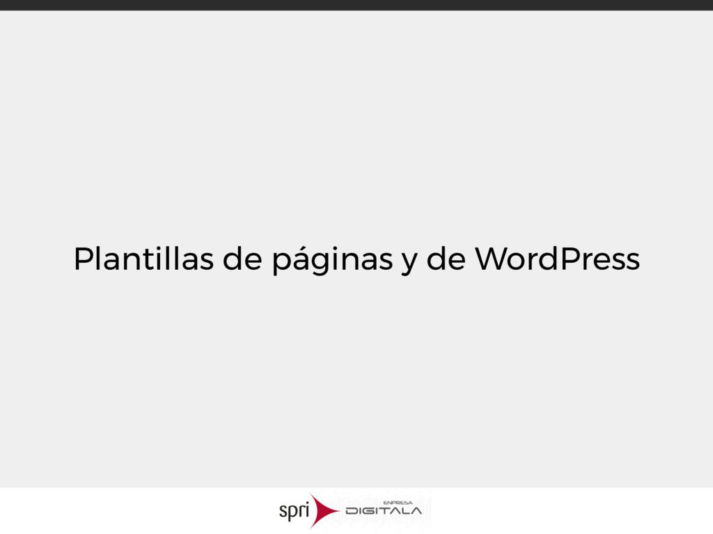 Plantillas de páginas y de WordPress