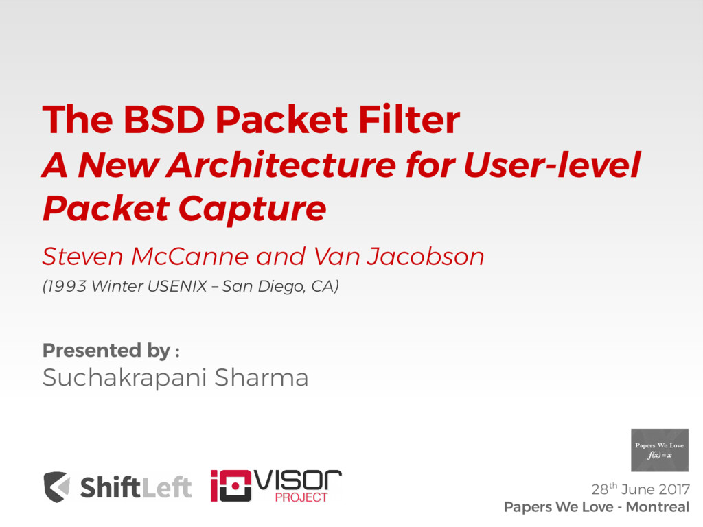 The BSD Packet Filter A New Architecture for Us...