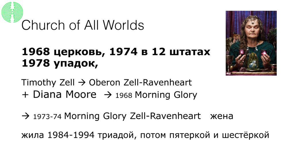 Church of All Worlds 1968 церковь, 1974 в 12 шт...