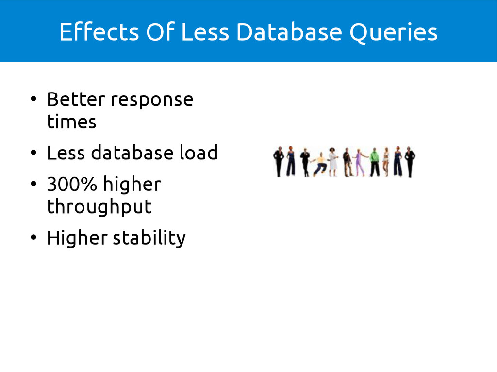 Effects Of Less Database Queries ● Better respo...