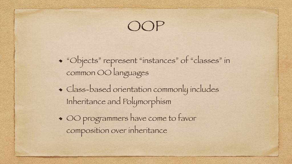 "OOP ""Objects"" represent ""instances"" of ""classes..."
