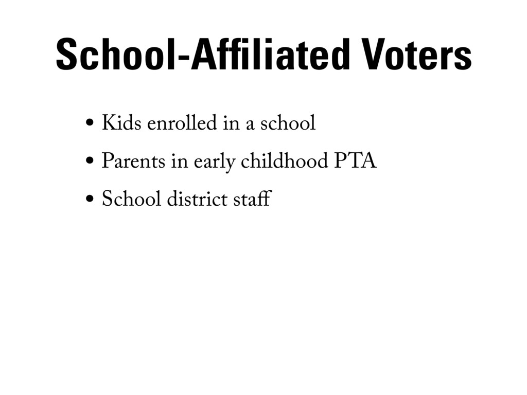 School-Affiliated Voters • Kids enrolled in a s...