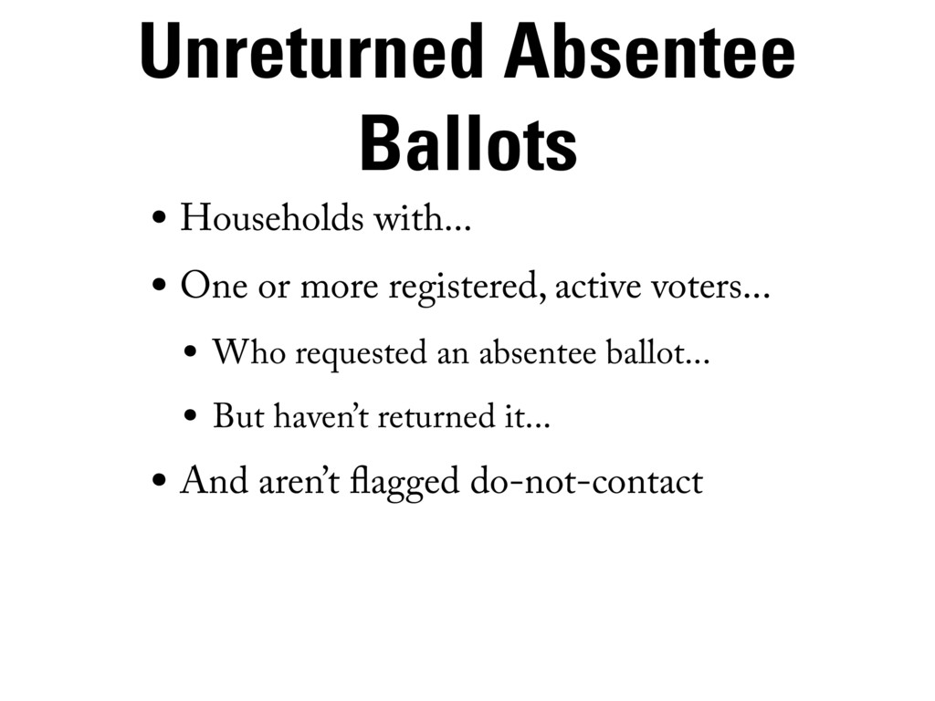 Unreturned Absentee Ballots • Households with.....