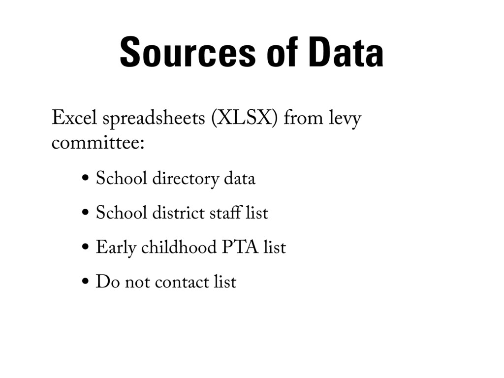 Sources of Data Excel spreadsheets (XLSX) from ...