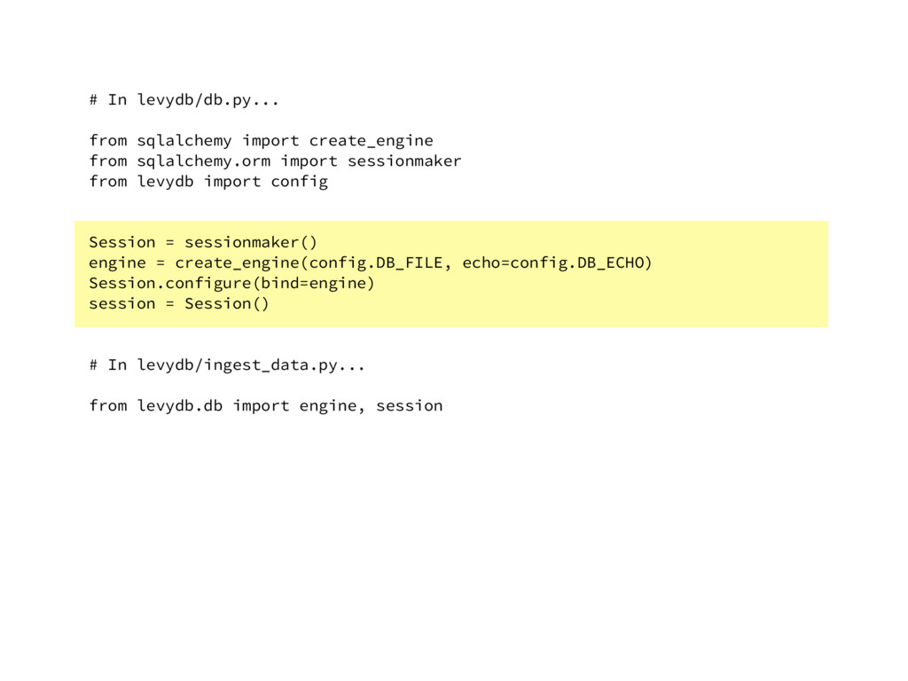 # In levydb/db.py... from sqlalchemy import cre...