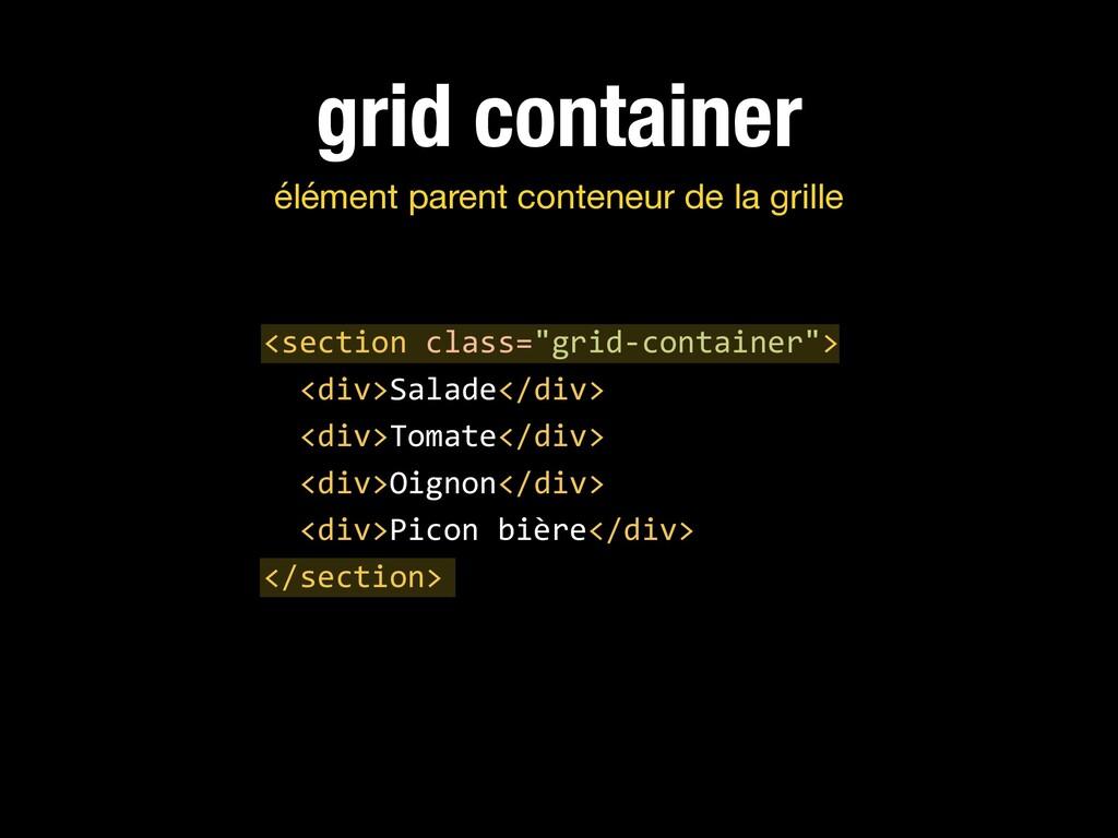 grid container élément parent conteneur de la g...