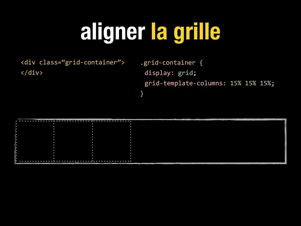 aligner la grille .grid-container { display: gr...