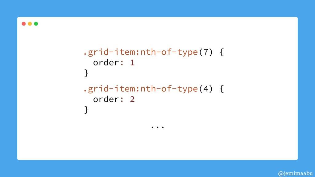 .grid-item:nth-of-type(7) { order: 1 } .grid-it...