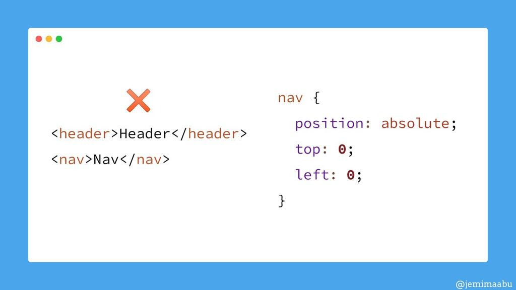 nav { position: absolute; top: 0; left: 0; } <h...