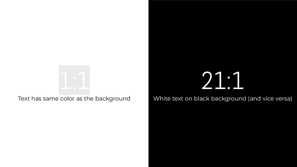 21:1 White text on black background (and vice v...