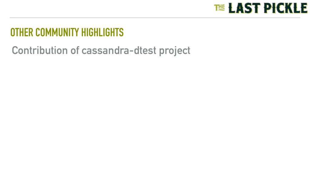 OTHER COMMUNITY HIGHLIGHTS Contribution of cass...