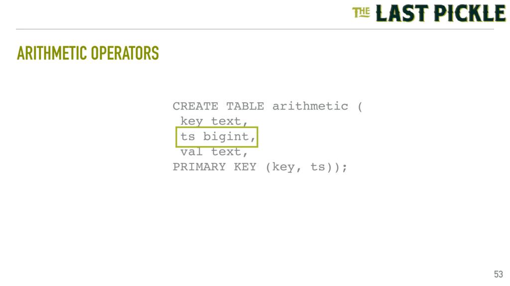 ARITHMETIC OPERATORS 53 CREATE TABLE arithmetic...