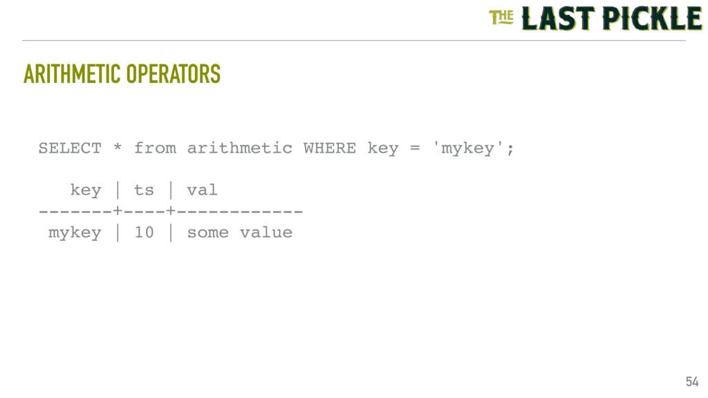 ARITHMETIC OPERATORS 54 SELECT * from arithmeti...