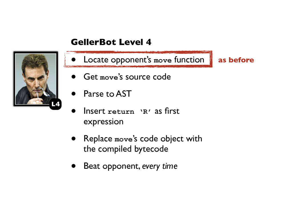 GellerBot Level 4 • Locate opponent's move func...