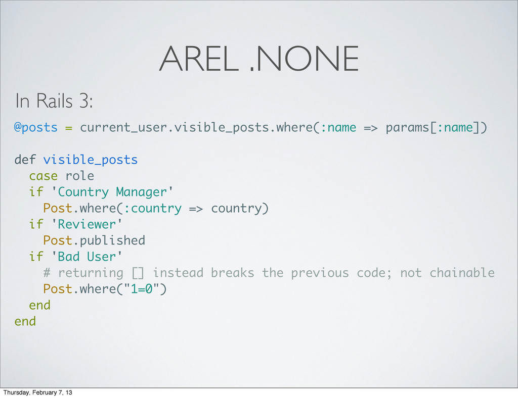 AREL .NONE @posts = current_user.visible_posts....