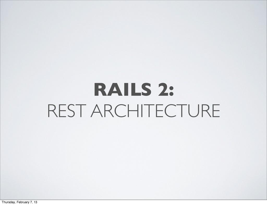 RAILS 2: REST ARCHITECTURE Thursday, February 7...