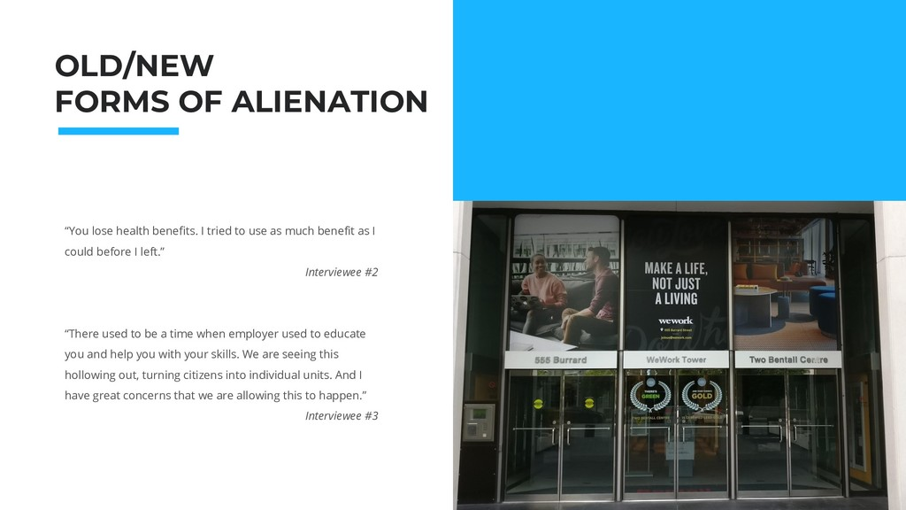 """OLD/NEW FORMS OF ALIENATION """"You lose health be..."""