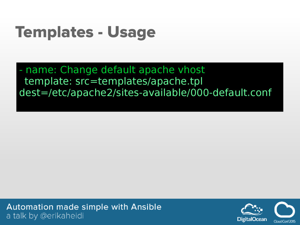 Templates - Usage - name: Change default apache...