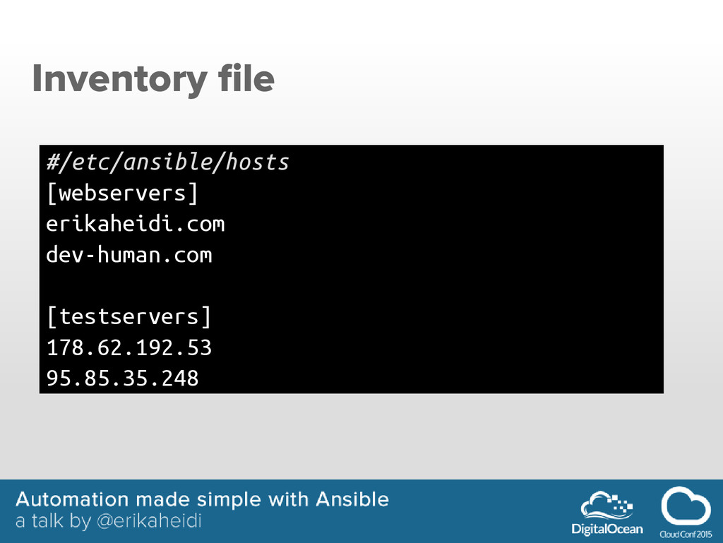 Inventory file #/etc/ansible/hosts [webservers]...