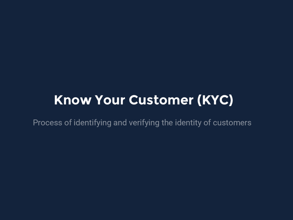 Know Your Customer (KYC) Process of identifying...