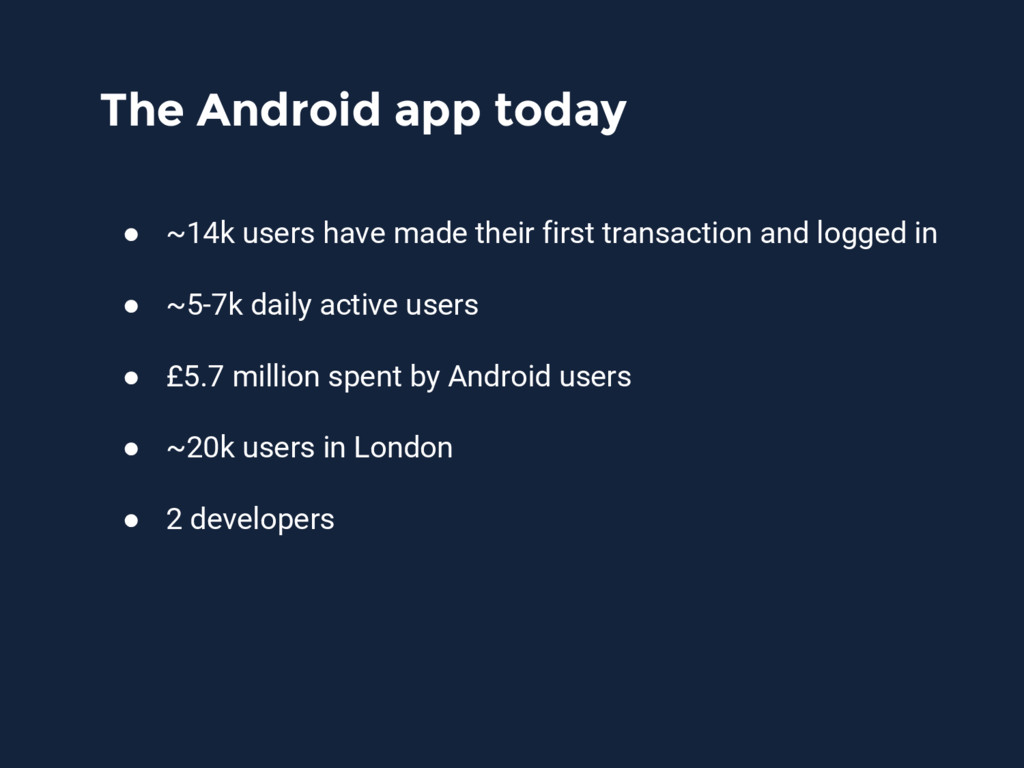 The Android app today ● ~14k users have made th...