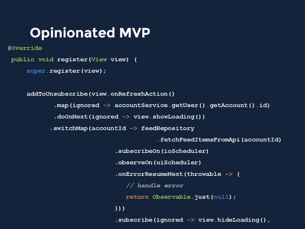 Opinionated MVP @Override public void register(...