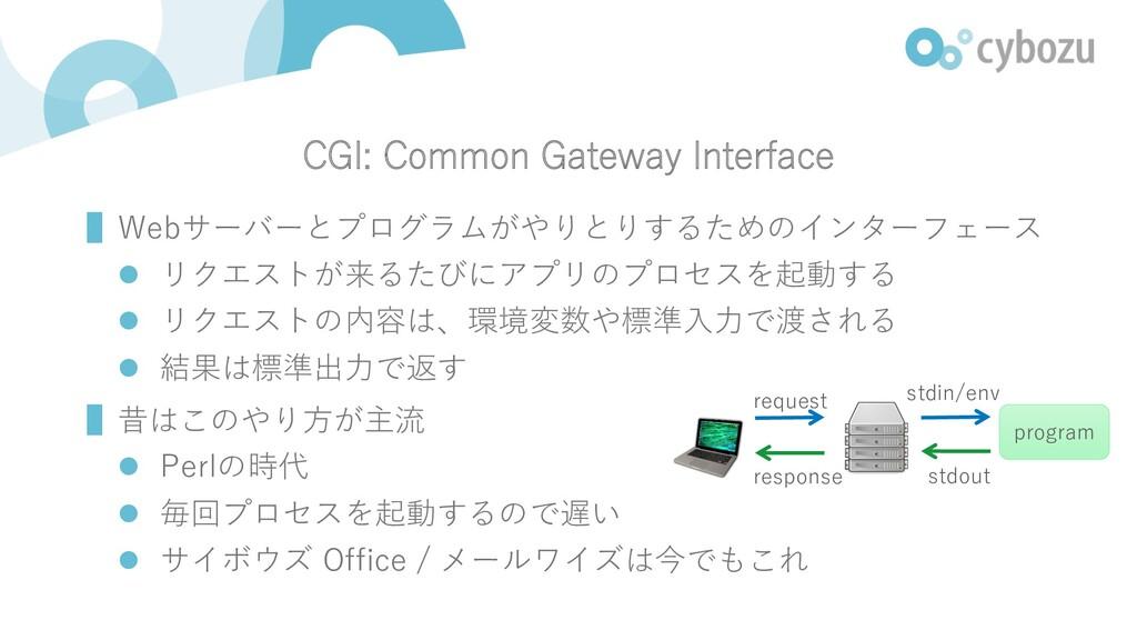 CGI: Common Gateway Interface ▌Webサーバーとプログラムがやり...