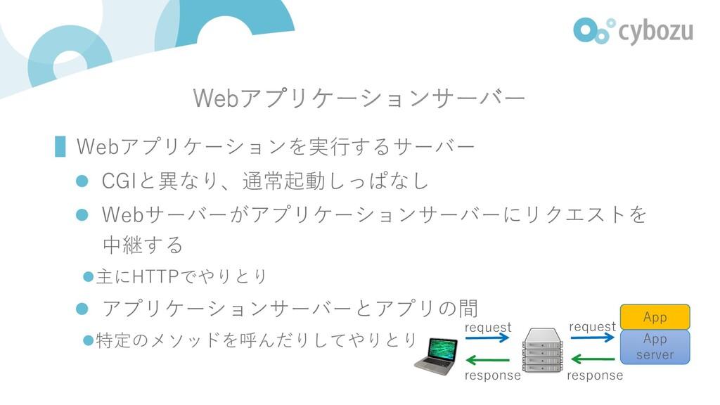 Webアプリケーションサーバー ▌Webアプリケーションを実⾏するサーバー l CGIと異なり...