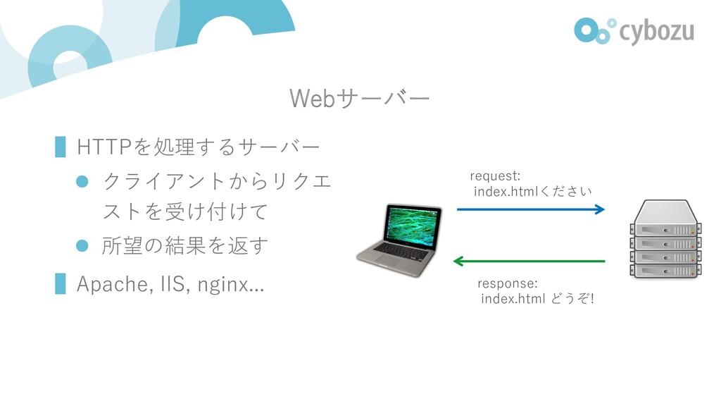 Webサーバー ▌HTTPを処理するサーバー l クライアントからリクエ ストを受け付けて l...