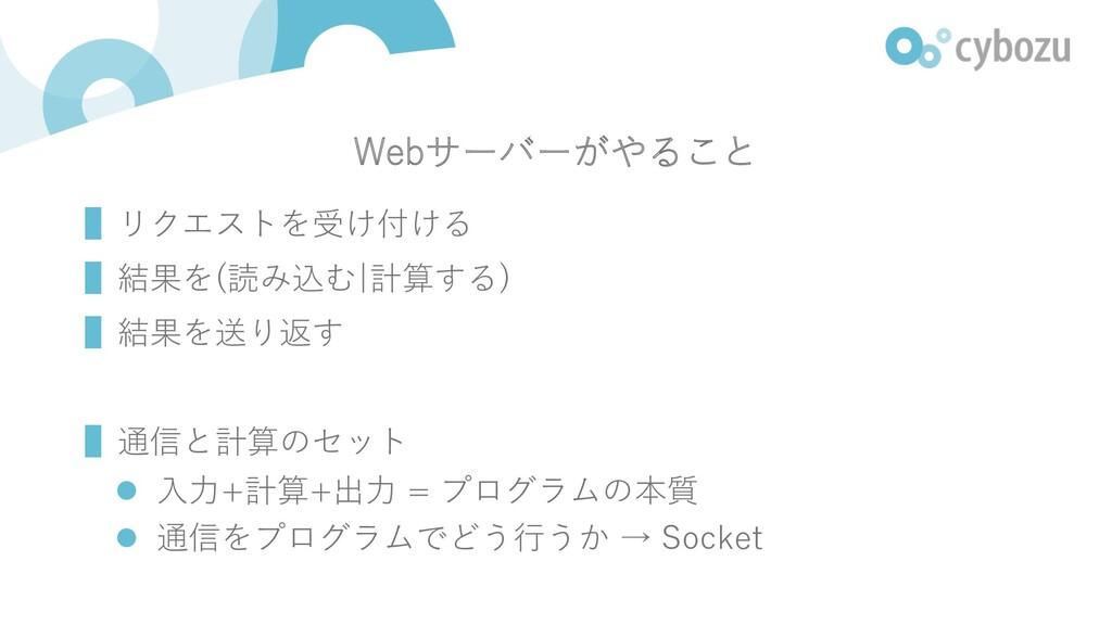Webサーバーがやること ▌リクエストを受け付ける ▌結果を(読み込む 計算する) ▌結果を送...