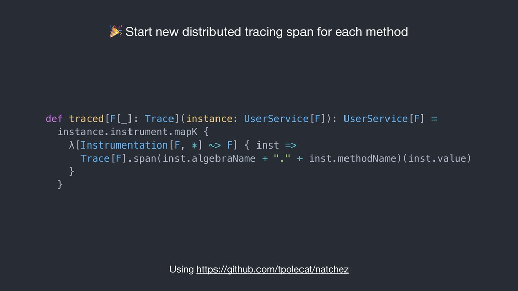 Start new distributed tracing span for each me...