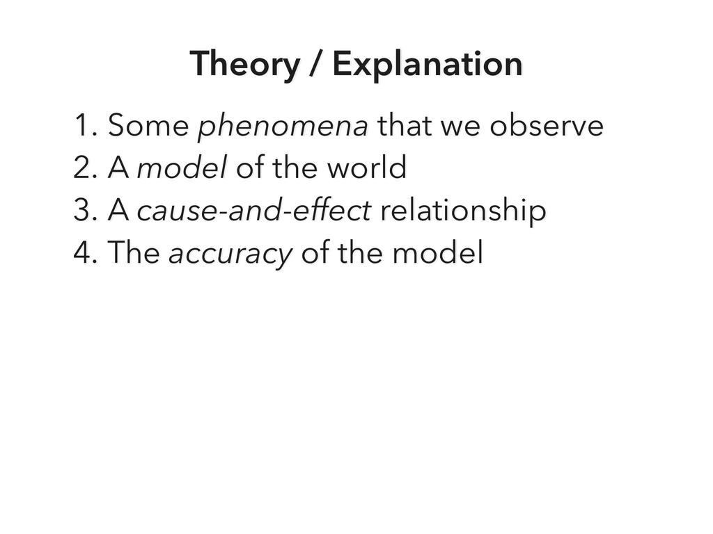 Theory / Explanation 1. Some phenomena that we ...
